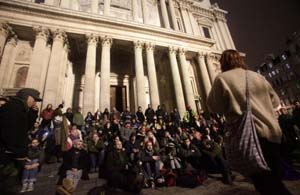 Occupy Protestors on the steps of St Paul's Cathedral after the removal of their tents. (PA)