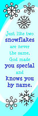 Bookmark-Just Like Two Snowflakes (Luke 2:14 KJV) (Pack Of 25)