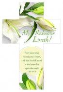 Bookmark-My Redeemer Liveth (Job 19:25 KJV) (Die-Cut Cross) (Easter) (Pack of 25)