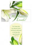 Bookmark-My Redeemer Liveth (Job 19:25 KJV) (Die-Cut Cross) (Easter) (Pack of 25)