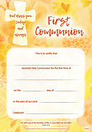First Communion Certificate Pack of 10