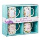 Inspirational Floral Mug Set - 4 pc set