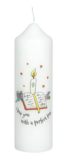 I Love You With A Perfect Love - Baptism Candle