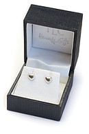 Polished Heart Stud Earrings with Cubic Zirconia