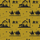 Nativity on Gold Gift Wrap and Tags