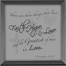 Faith Hope Love Silver Plaque