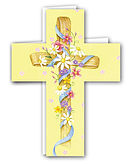 Floral Yellow Cross Card - Pack of 4