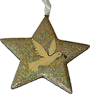 Silver Glitter Dove Christmas Star Decoration