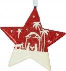 Red Glitter Nativity Scene Star Christmas Decoration