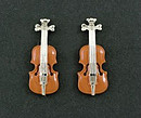 Violin cufflinks In Brown and Silver