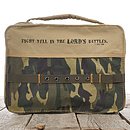 1 Tim. 1:18 (Camouflage) Cotton Bible Cover- Medium