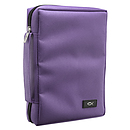 Promo Poly-Canvas Bible / Book Cover w/Fish Applique (Dahlia Purple) - Large