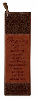 Amazing Grace - Faux Leather Bookmark