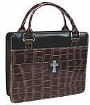 Cross (Brown) Croc-Embossed Patent Purse-Style Bible Cover- Medium