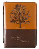 Bible Cover Medium Imitation Leather Brown - Stand firm in the Lord