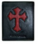 "Black ""Forgiven"" Genuine Leather Wallet w/Cross Inlay"