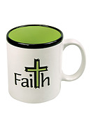 Faith Cross White/green Mug