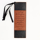 """Strong & Courageous"" Two-Tone Faux Leather Pagemarker / Bookmark - Joshua 1:9"