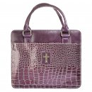 Cross (Purple) Metallic Croc Bible Cover - Medium