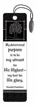 """My Utmost for His Highest"" (Black & White) Bookmarks w/ Charm"