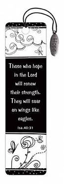"""Isaiah 40:31"" (Black & White) Bookmarks w/ Charm"