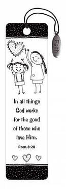 """Romans 8:28"" (Black & White) Bookmarks w/ Charm"