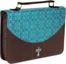 Cross (Turquoise/Brown) LuxLeather/Microfiber Bible Cover- Medium