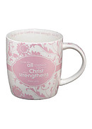 I Can Do All Things Pink Floral Mug