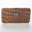 "Croc-Embossed Opera Wallet w/""Faith"" Badge (Taupe)"