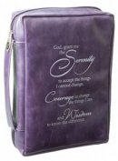 Serenity Prayer (Purple) Leather-Look Bible Cover, Medium