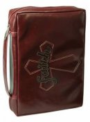 Faith (Brown) Leather-Look Bible Cover, Medium