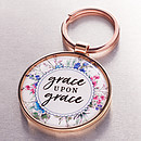 Grace upon Grace Keyring in Tin