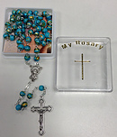 Blue with Gold Decoration Glass Rosary