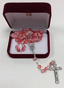 Murano Glass Rosary Pink and White