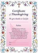 Certificate Of Thanksgiving Pink - Pack of 20