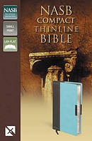 NASB Thinline Compact Bible Turquoise and Chocolate Imitation Leather