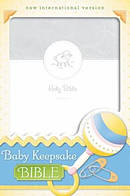 NIV, Baby Keepsake Bible, Imitation Leather, White