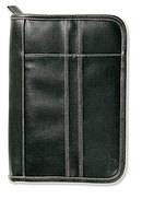 Distressed Leather Look Bible Cover: Black, Large