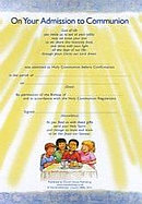 Admission to Communion Certificates Pack of 10