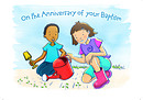 Baptism Anniversary Card Children - Pack of 10