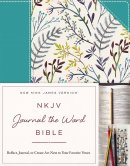 NKJV, Journal the Word Bible, Hardcover, Blue Floral Cloth, Red Letter Edition