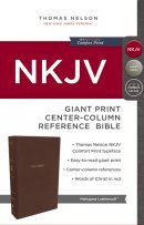 NKJV, Reference Bible, Center-Column Giant Print, Leathersoft, Brown, Red Letter Edition, Comfort Print