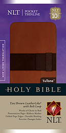 NLT Pocket Thinline Bible: Tan and Brown, Imitation Leather
