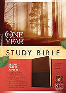 NLT One Year Study Bible Tutone Brown and Tan Imitation Leather