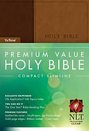 NLT Premium Value Compact Slimline Bible,Brown Imitation Leather