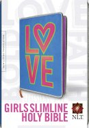 NLT Girls Slimline Bible, Neon, LOVE/Blue, Fur