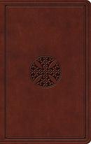 ESV Value Thinline Bible, TruTone, Brown,Mosaic Cross Design