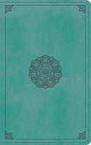 ESV Single Column Thinline Bible (TruTone, Turquoise, Emblem Design)
