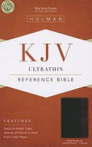 Kjv Ultrathin Reference Bible, Black/burgundy Leathertouch Indexed