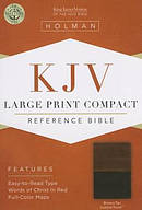 Kjv Large Print Compact Bible, Brown/tan Leathertouch